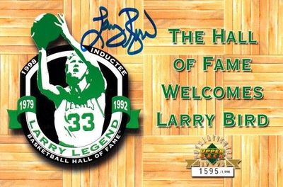Larry Bird autographed Boston Celtics 1998 Hall of Fame commemorative UDA postcard #/1998 (Schwartz Sports)
