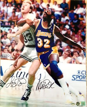 Larry Bird & Magic Johnson autographed 16x20 inch poster size photo (Schwartz Sports/Superstar Greetings)