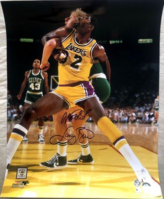Larry Bird and Magic Johnson autographed 16x20 poster size photo (Mounted Memories)