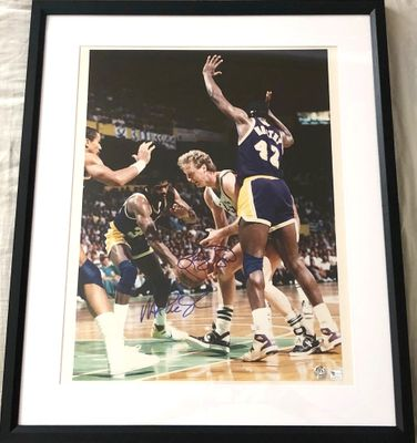 Larry Bird and Magic Johnson autographed 16x20 poster size photo matted and framed