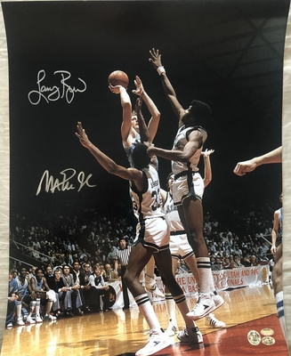 Larry Bird and Magic Johnson autographed 1979 NCAA Championship 16x20 poster size photo (Schwartz Sports)