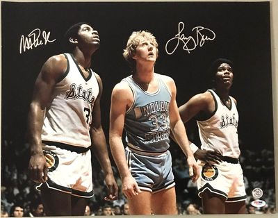 Larry Bird and Magic Johnson autographed 1979 NCAA Championship game 16x20 inch poster size photo