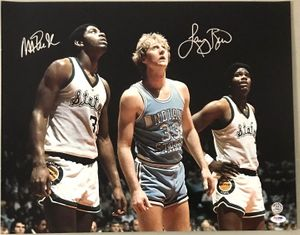 Larry Bird & Magic Johnson autographed 1979 NCAA Championship game 16x20 inch poster size photo