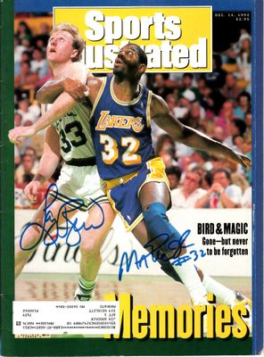 Larry Bird and Magic Johnson autographed 1992 Sports Illustrated (Schwartz Sports)