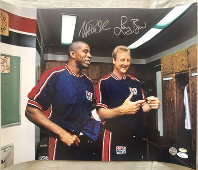 Larry Bird and Magic Johnson autographed 1992 USA Dream Team 16x20 poster size photo (JSA & Schwartz)