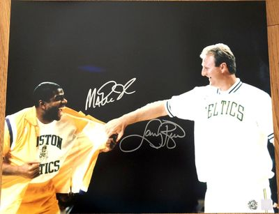 Larry Bird and Magic Johnson autographed Retirement Ceremony 16x20 poster size photo (Superstar Greetings)