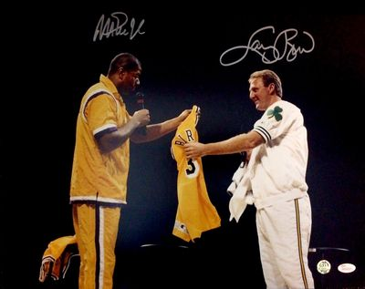 Larry Bird and Magic Johnson autographed Retirement Ceremony 16x20 poster size photo (JSA Witnessed)