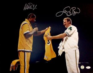 Larry Bird & Magic Johnson autographed Bird Retirement Ceremony 16x20 inch poster size photo (JSA Witnessed)