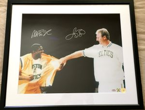Larry Bird & Magic Johnson autographed Bird Retirement Ceremony 16x20 inch poster size photo matted & framed (Schwartz/SSG)