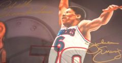 Larry Bird Wilt Chamberlain Julius Erving Michael Jordan autographed UDA Decade Legends lithograph framed ltd edit 200
