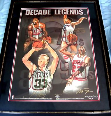 Michael Jordan Wilt Chamberlain Larry Bird Julius Erving autographed UDA Decade Legends lithograph framed limited edition 200