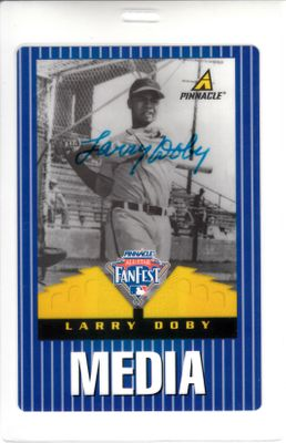 Larry Doby autographed Cleveland Indians 1997 MLB All-Star FanFest media badge with Pinnacle card