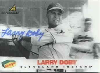 Larry Doby autographed Cleveland Indians 1997 Pinnacle Denny's 3D card