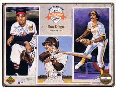 Larry Doby Rollie Fingers Steve Garvey autographed 1992 Upper Deck All-Star card sheet