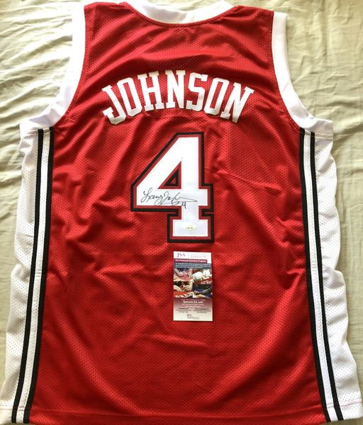 Larry Johnson autographed UNLV Rebels red stitched replica jersey (JSA Witnessed)