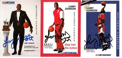 Larry Johnson set of 3 certified autograph 1991 Courtside cards