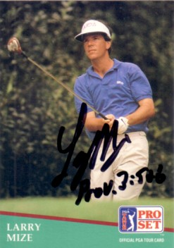 Larry Mize autographed 1991 Pro Set golf card