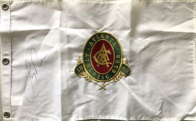 Larry Nelson autographed Atlanta Athletic Club embroidered golf pin flag