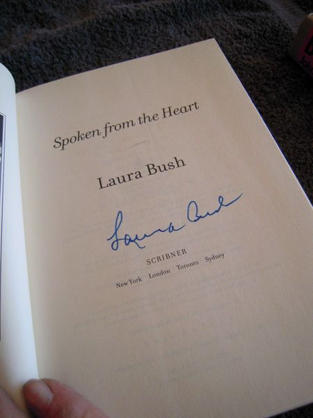 Laura Bush autographed Spoken from the Heart hardcover book
