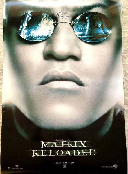 Laurence Fishburne autographed Matrix Reloaded 27x39 full size Morpheus movie poster with exact proof photo