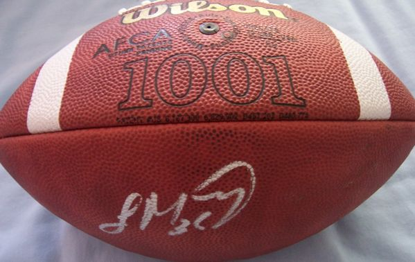 Laurence Maroney autographed Wilson NCAA leather football