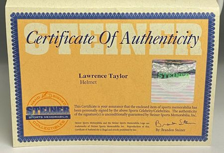 Lawrence Taylor autographed New York Giants authentic full size Pro Line game model helmet (Steiner)