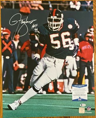 Lawrence Taylor autographed New York Giants 16x20 poster size photo inscribed HOF 99 (BAS authenticated)