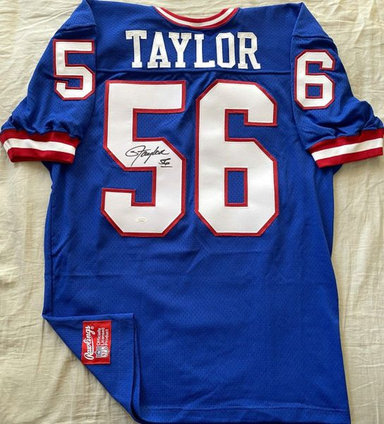 Lawrence Taylor autographed New York Giants 1980s authentic Rawlings game model blue jersey (JSA)