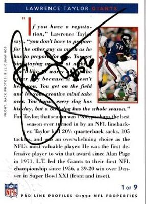Lawrence Taylor certified autograph New York Giants 1992 Pro Line Profiles card