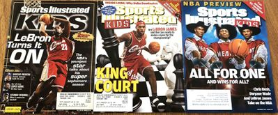 LeBron James lot of 3 Sports Illustrated for Kids magazine issues with foldout posters (2005 2008 2010)