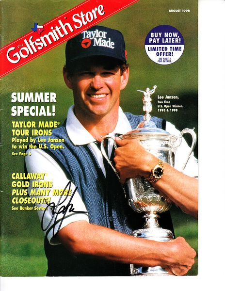 Lee Janzen autographed 1998 U.S. Open Champion Golfsmith catalog