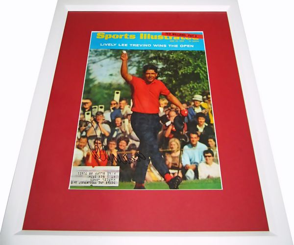 Lee Trevino autographed 1968 U.S. Open Sports Illustrated cover matted & framed