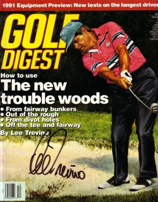 Lee Trevino autographed 1990 Golf Digest magazine cover