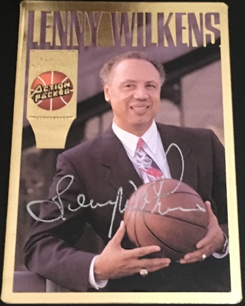 Lenny Wilkens certified autograph Action Packed Hall of Fame card