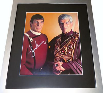 Leonard Nimoy autographed Spock Star Trek 11x14 movie photo with Sarek matted and framed