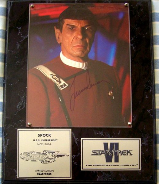 Leonard Nimoy autographed Star Trek VI The Undiscovered Country Spock 8x10 movie photo in plaque (#/2500)