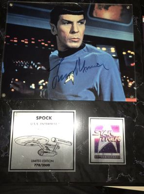 Leonard Nimoy autographed Star Trek Spock 8x10 photo in 25th Anniversary plaque (#/2500)