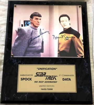 Leonard Nimoy and Brent Spiner autographed Star Trek The Next Generation 8x10 photo in plaque #1635/2500