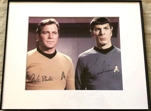 Leonard Nimoy and William Shatner autographed Star Trek Original Series 8x10 photo matted and framed