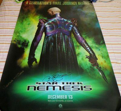 LeVar Burton and Marina Sirtis autographed Star Trek Nemesis full size 27x40 movie poster