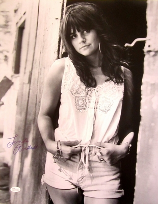 Linda Ronstadt autographed 16x20 poster size vintage black and white photo (JSA Witnessed)