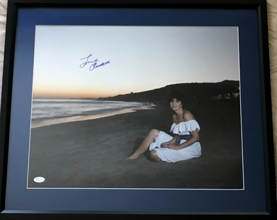 Linda Ronstadt autographed 16x20 poster size beach sunset photo matted and framed (JSA Witnessed)