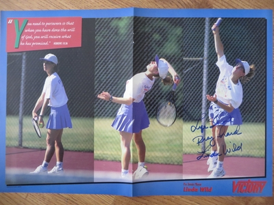 Linda Wild autographed tennis magazine foldout poster