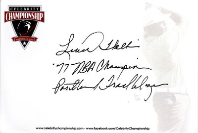 Lionel Hollins autographed 4x6 signature card inscribed '77 NBA Champions Portland Trail Blazers