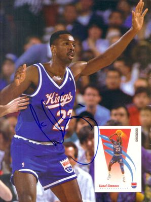 Lionel Simmons autographed Sacramento Kings Beckett Basketball back cover photo