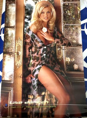 Lisa Dergan (July 1998 Playmate) autographed Playboy magazine 23x35 poster inscribed to Theo