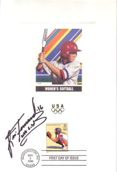 Lisa Fernandez autographed softball 1996 U.S. Olympic Team USPS 6x9 proof card with First Day of Issue cancellation