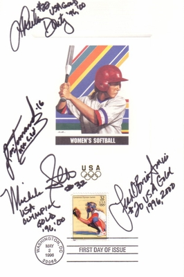 USA Softball stars autographed 1996 U.S. Olympic Team USPS 6x9 proof card with First Day cancellation (Lisa Fernandez Michele Smith)