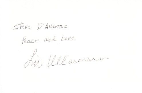 Liv Ullmann autographed 3x5 index card