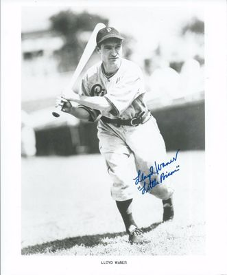 Lloyd Waner autographed Pittsburgh Pirates 8x10 photo inscribed Little Poison (JSA)